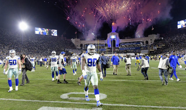 DeMarcus Lawrence played on a franchise tag this season. He's looking for a long-term deal this offseason. (Getty Images)