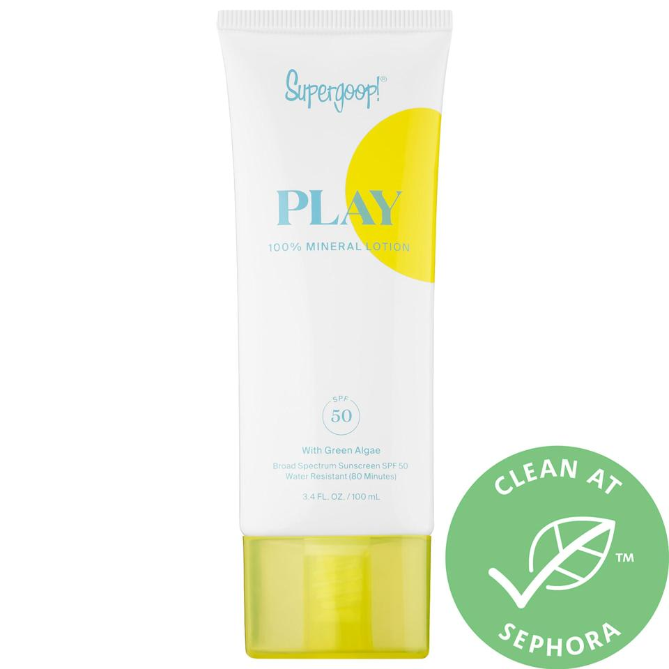"""<h3><strong>Supergoop!</strong> PLAY 100% Mineral Broad Spectrum Lotion</h3><br>Yes, Supergoop makes mineral sunscreen — and, yes, it's also non-nano. Consider it an added bonus that this formula uses nourishing ingredients like green microalgae and pomegranate oil to hydrate and protect the skin from environmental stressors.<br><br><strong>Supergoop!</strong> PLAY 100% Mineral Broad Spectrum Lotion SPF 50, $, available at <a href=""""https://go.skimresources.com/?id=30283X879131&url=https%3A%2F%2Fwww.sephora.com%2Fproduct%2Fplay-100-mineral-broad-spectrum-lotion-spf-50-P448189"""" rel=""""nofollow noopener"""" target=""""_blank"""" data-ylk=""""slk:Sephora"""" class=""""link rapid-noclick-resp"""">Sephora</a>"""