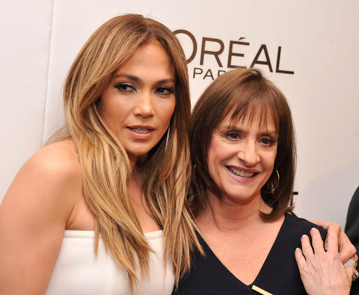 "NEW YORK, NY - JANUARY 23:  Jennifer Lopez and Patti LuPone attend a screening of ""Parker"" hosted by FilmDistrict, The Cinema Society, L'Oreal Paris and Appleton Estate at MOMA on January 23, 2013 in New York City.  (Photo by Stephen Lovekin/Getty Images)"