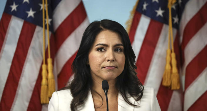 Gabbard at a press conference in New York on Tuesday. (Photo: Drew Angerer/Getty Images)