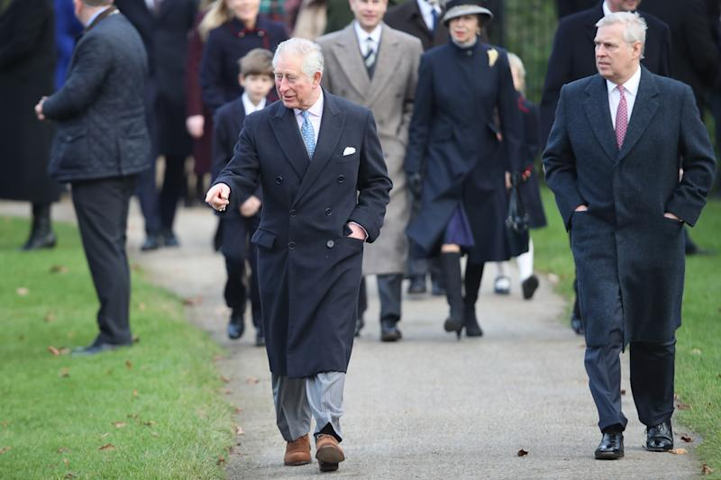 Prince Charles and Prince Andrew attend the Christmas Day Church service at Church of St Mary Magdalene in 2017. (Getty)