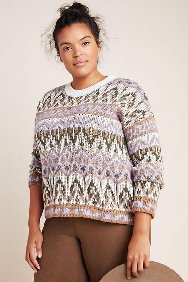 """Who said pastels and neutrals don't mix? $150, Anthropologie. <a href=""""https://www.anthropologie.com/shop/fabiana-sweater?category=tops-sweaters&color=015&type=STANDARD"""">Get it now!</a>"""