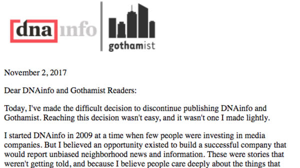 Gothamist Sites And DNAinfo Shut Down After Staffers Unionize