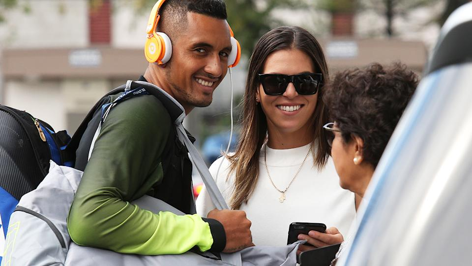 Nick Kyrgios and Ajla Tomljanovic at the 2016 US Open. (Photo by Jean Catuffe/GC Images)