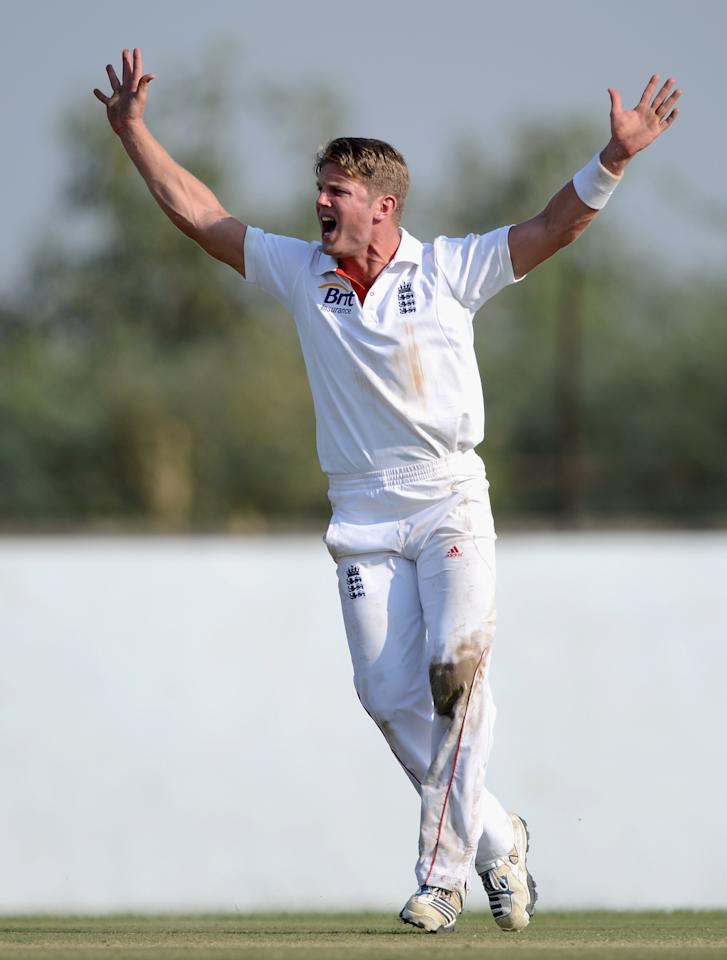 AHMEDABAD, INDIA - NOVEMBER 11:  Stuart Meaker of England appeals during day four of the tour match between England and Haryana at Sardar Patel Stadium ground B on November 11, 2012 in Ahmedabad, India.  (Photo by Gareth Copley/Getty Images)