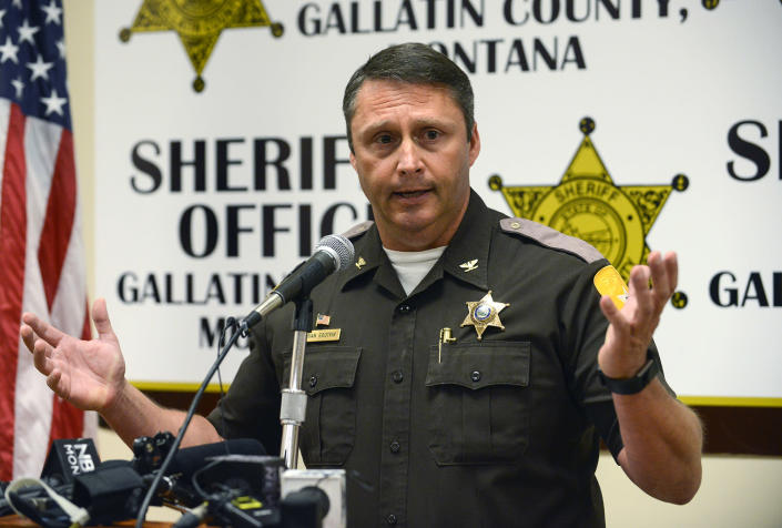 Gallatin County Sheriff Brian Gootkin answers questions during a press conference on May 25 in Bozeman, Mont. (Photo: Rachel Leathe /Bozeman Daily Chronicle via AP)