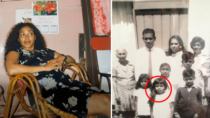 Split screen. Left - Annick Uppiah in a colour photo. Right - Annick Uppiah circled stands with her family - the photo is black and white