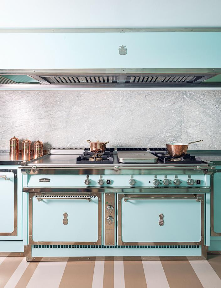 Officine Gullo, the Italian purveyor of tailor-made kitchens, recently teamed up with Edgardo Osorio of the luxury footwear brand Aquazzura to create a one-of-a-kind space for his own Venice home. The turquoise-and-nickel kitchen (shown) was such a success that the two have now partnered on a forthcoming appliance line—realized by the artisans at Officine Gullo's Florence atelier and based on Aquazzura's coveted design. officinegullo.com
