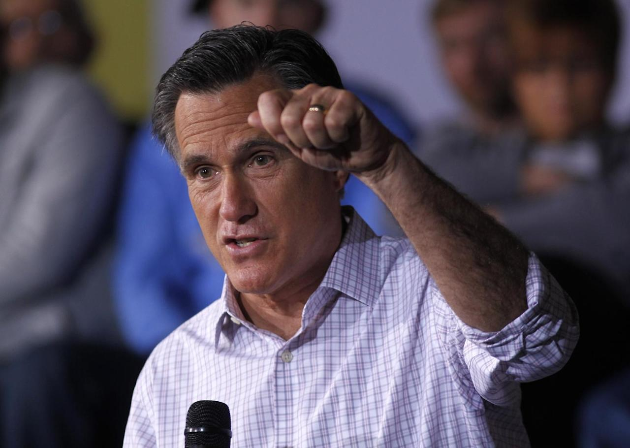 Republican presidential candidate, former Massachusetts Gov. Mitt Romney speaks at a campaign rally in Dayton, Ohio Saturday, March 3, 2012. (AP Photo/Gerald Herbert)