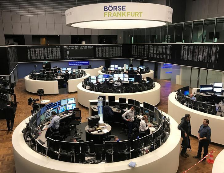The German share price index, DAX board, is seen at the stock exchange in Frankfurt