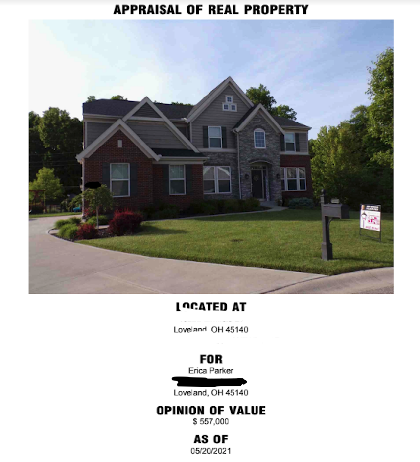 The second appraisal of the Parkers' Loveland home