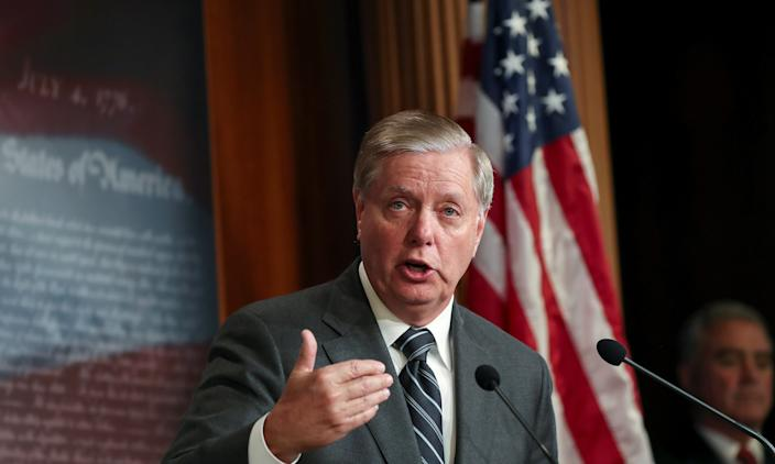 "U.S. Senator Lindsey Graham holds a news conference to discuss his plans to introduce a Senate resolution condeming the Democratic-led U.S. House of Representatives impeachment inquiry into U.S. President Donald Trump as ""illegitimate"" at the U.S. Capitol in Washington, U.S., October 24, 2019. (Photo: Siphiwe Sibeko/Reuters)"