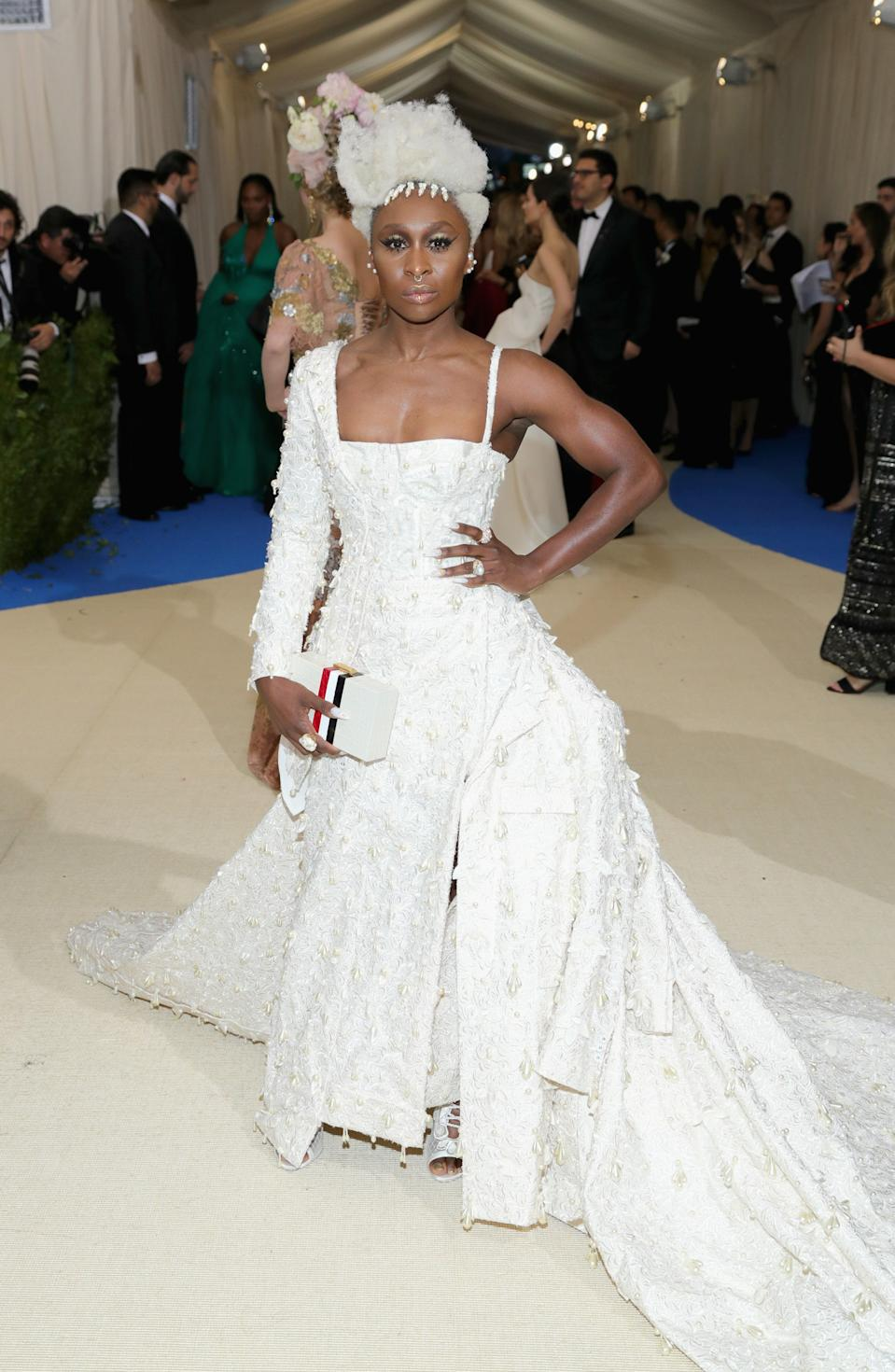 """<h1 class=""""title"""">Cynthia Erivo in Thom Browne and Mikimoto jewelry</h1><cite class=""""credit"""">Photo: Getty Images</cite>"""