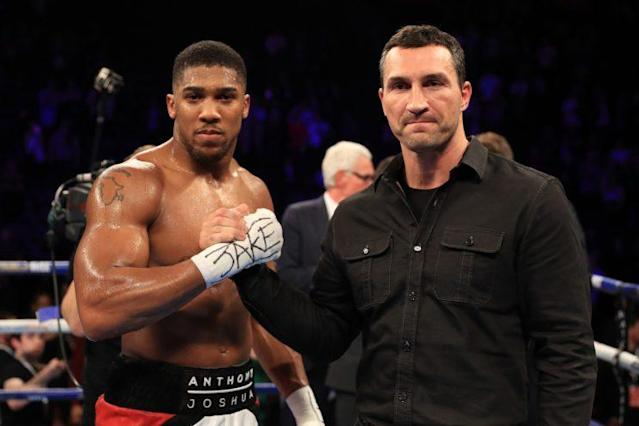 IBF heavyweight champion Anthony Joshua (L) and Wladimir Klitschko (R) will fight on April 29 in London. Showtime will broadcast the fight live in the U.S. and HBO will do the replay. (Getty Images)
