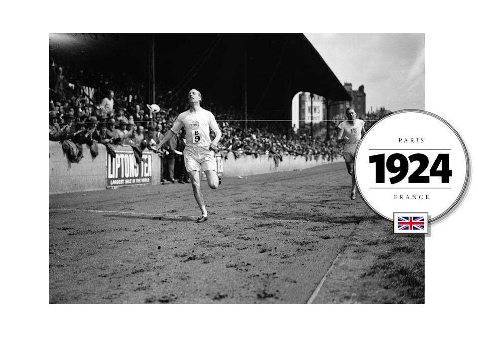"""At the popular 1924 Paris games, runner Eric Liddell, often called the """"Flying Scotsman"""" voluntarily withdrew from the 100-meter race because it fell on a Sunday, which went against his devout Christianity. (Later on in the week, he won a gold medal in the 400-meter race). Around this time, running uniforms became noticeably skimpier; tight, white t-shirts and shorter shorts. (Getty Images)"""