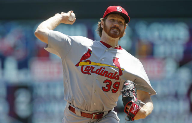 St. Louis Cardinals pitcher Miles Mikolas throws against the Minnesota Twins in the first inning of a baseball game Wednesday, May 16, 2018, in Minneapolis. (AP Photo/Jim Mone)