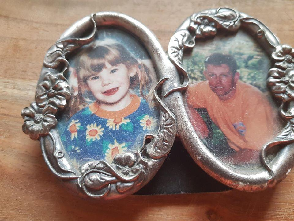 Old pictures of Shani and Rick Norton in an antique photo frame.