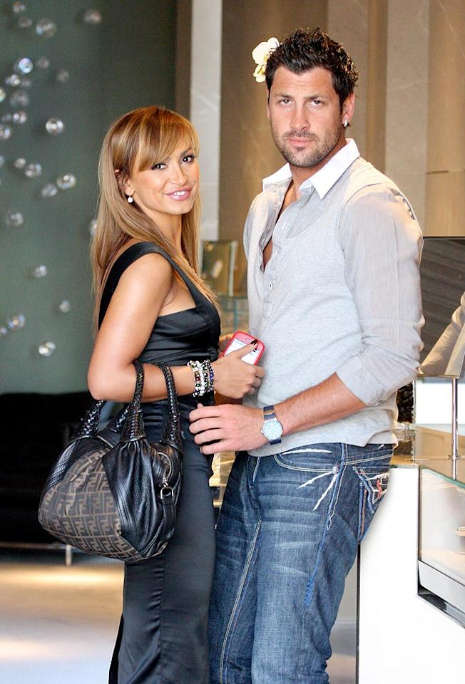 """""""Dancing With the Stars'"""" Karina Smirnoff and Maksim Chmerkovskiy were spotted jewelry shopping in Beverly Hills on Tuesday. Karina admitted to Usmagazine.com that planning their wedding has been """"very stressful"""" and that the special day will be sometime next year. <a href=""""http://www.x17online.com"""" target=""""new"""">X17 Online</a> - May 5, 2009"""