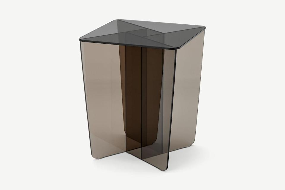"""When retro meets goth! I'm obsessed with this smoky glass side table and can already imagine my candle, magazine and crystal collection perching very happily on it.<br><br><strong>Made</strong> Oki Side Table, Smoked Grey & Amber Glass, $, available at <a href=""""https://www.made.com/oki-side-table-smoked-grey-amber-glass"""" rel=""""nofollow noopener"""" target=""""_blank"""" data-ylk=""""slk:Made"""" class=""""link rapid-noclick-resp"""">Made</a>"""