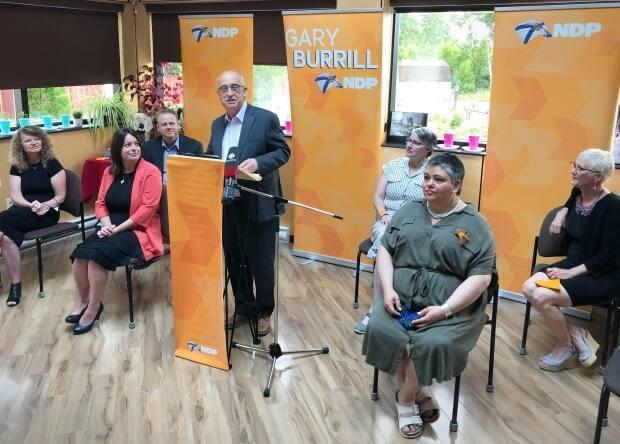 Nova Scotia NDP Leader Gary Burrill introduces six candidates from Cape Breton ridings for the next provincial election. (Tom Ayers/CBC - image credit)