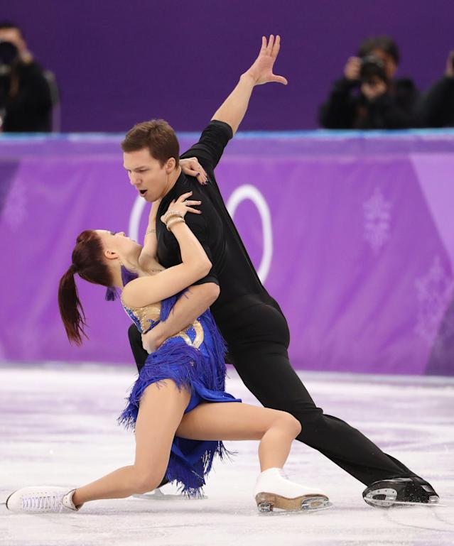 Figure Skating - Pyeongchang 2018 Winter Olympics - Ice Dance short dance competition - Gangneung Ice Arena - Gangneung, South Korea - February 19, 2018 - Ekaterina Bobrova and Dmitri Soloviev, Olympic athletes from Russia, perform. REUTERS/Lucy Nicholson