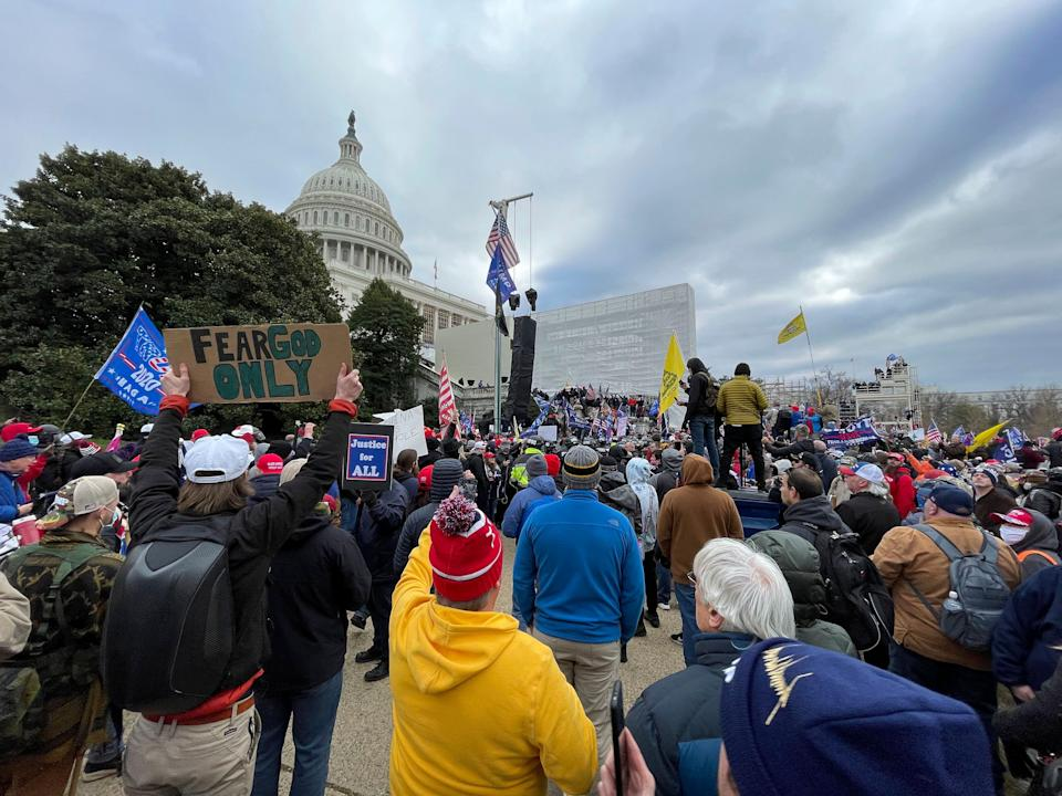 """A sign reading """"Fear God Only"""" is seen at the Capitol rally on Jan. 6. (Photo: zz/STRF/STAR MAX/IPx)"""
