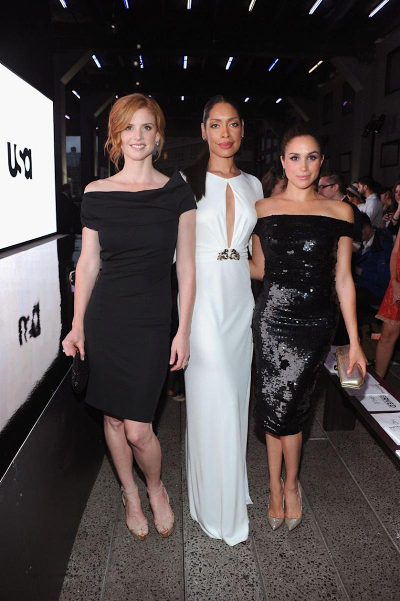 Meghan's Suits co-stars, including Gina Torres and Sarah Rafferty were reportedly seen at the party. Photo: Getty Images