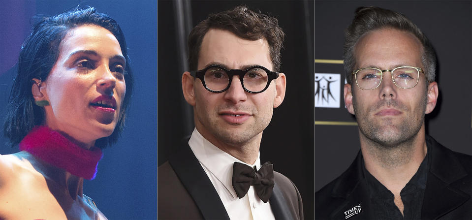 """This combination photo shows, from left, Annie Clark of St. Vincent, Jack Antonoff and Justin Tranter, who have collaborated with The Chicks on their new album """"Gaslighter."""" Clark performed on electric guitar on """"Texas Man,"""" """"Gaslighter"""" was recorded and co-written with Antonoff and songwriter Tranter helped The Chicks co-write some of the album's most raw, vulnerable break up songs, including """"Sleep At Night."""" (AP Photo)"""