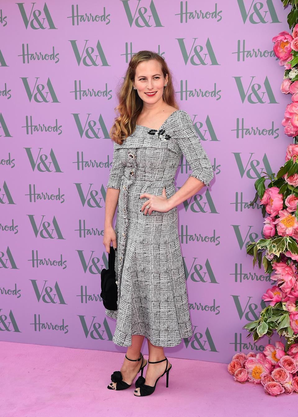 <p>Designer Charlotte Dellal looked seriously chic at the V&A summer event in a houndstooth dress and juxtaposing red lippy. <em>[Photo: Getty]</em> </p>