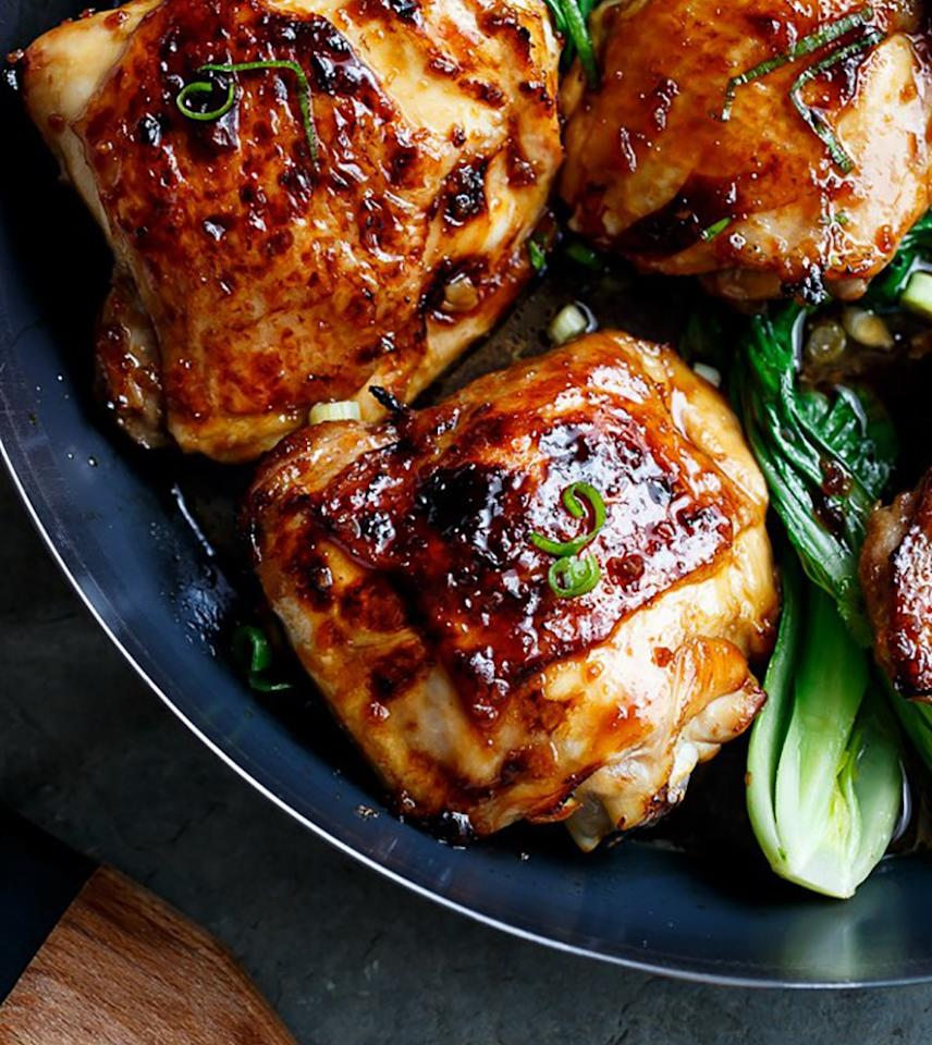 "<p>This chicken thigh recipe forgoes crispy skin and instead gets doused with a sticky, sweet honey-soy sauce. And it's amazing. Get the recipe <a rel=""nofollow"" href=""https://cafedelites.com/2015/11/09/roasted-asian-glazed-chicken-thighs?mbid=synd_yahoofood"">here</a>.</p>"