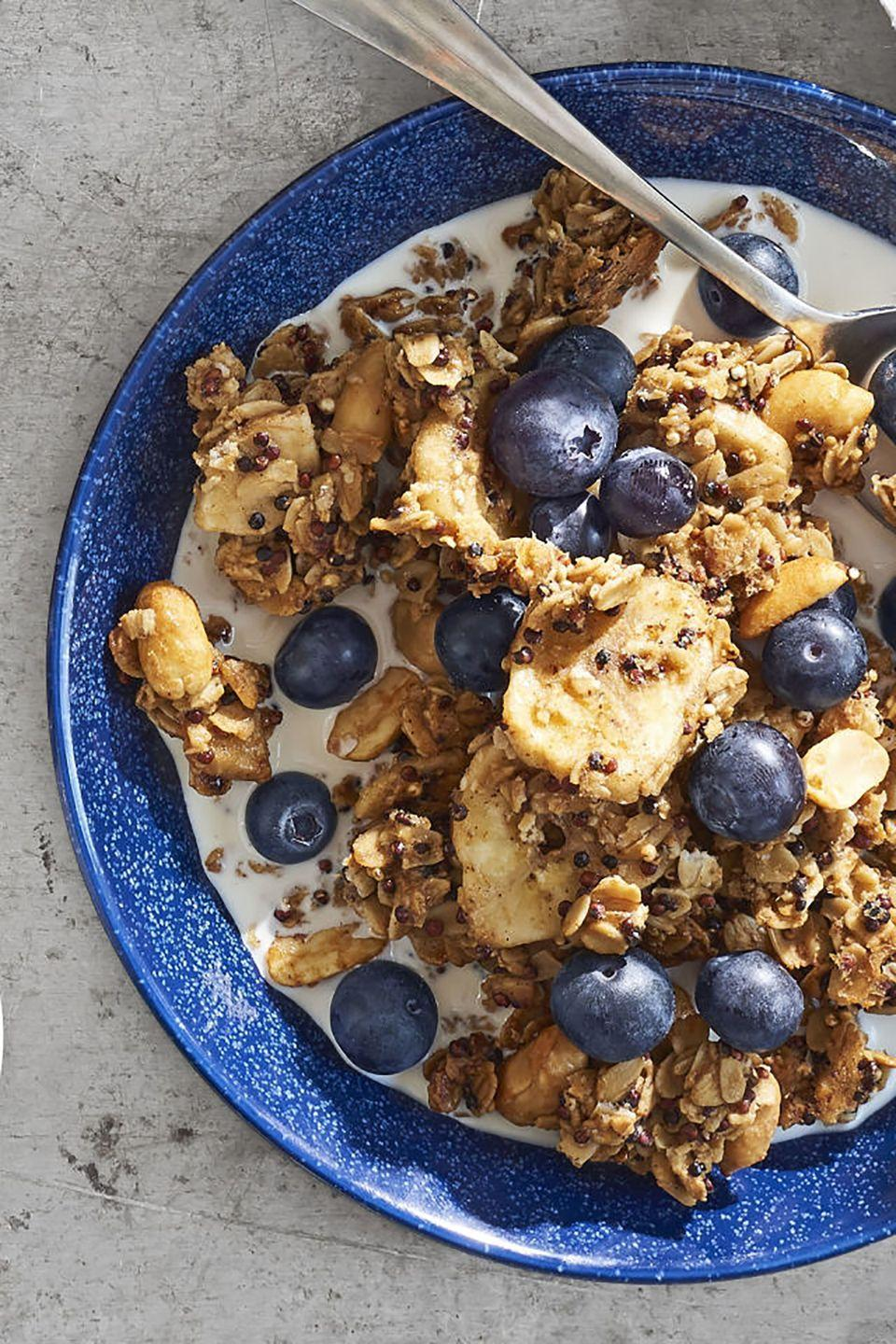 """<p>If you're planning to make some healthy changes, this hearty breakfast will get you started on the right foot. And it's tasty!</p><p><strong><a href=""""https://www.countryliving.com/food-drinks/recipes/a41654/peanut-butter-banana-bread-granola-recipe/"""" rel=""""nofollow noopener"""" target=""""_blank"""" data-ylk=""""slk:Get the recipe"""" class=""""link rapid-noclick-resp"""">Get the recipe</a>.</strong></p><p><a class=""""link rapid-noclick-resp"""" href=""""https://www.amazon.com/dp/B0017145PC/?tag=syn-yahoo-20&ascsubtag=%5Bartid%7C10050.g.34822192%5Bsrc%7Cyahoo-us"""" rel=""""nofollow noopener"""" target=""""_blank"""" data-ylk=""""slk:SHOP BAKING SHEETS"""">SHOP BAKING SHEETS</a> </p>"""