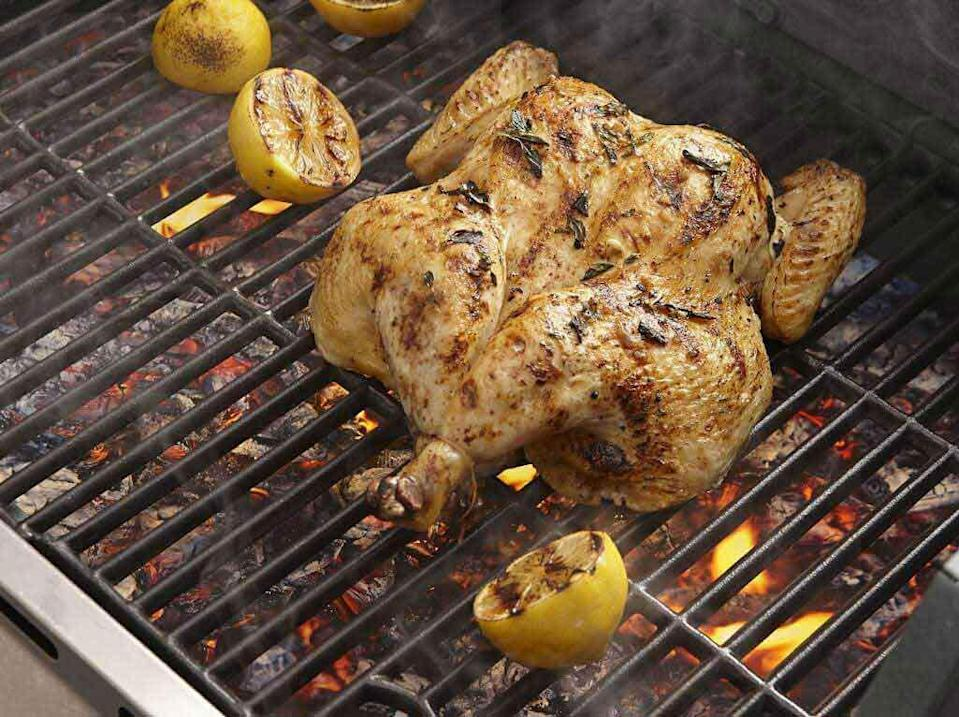 """<p>Sometimes, simply seasoned chicken really hits the spot. This Mediterranean-inspired bird is marinated in a combination of olive oil, oregano, garlic and lemon. For the biggest flavor, use fresh herbs.</p> <p><a href=""""https://www.thedailymeal.com/best-recipes/easy-mediterranean-spatchcocked-grilled-chicken?referrer=yahoo&category=beauty_food&include_utm=1&utm_medium=referral&utm_source=yahoo&utm_campaign=feed"""" rel=""""nofollow noopener"""" target=""""_blank"""" data-ylk=""""slk:For the Easy Mediterranean Spatchcocked Chicken recipe, click here."""" class=""""link rapid-noclick-resp"""">For the Easy Mediterranean Spatchcocked Chicken recipe, click here.</a></p>"""