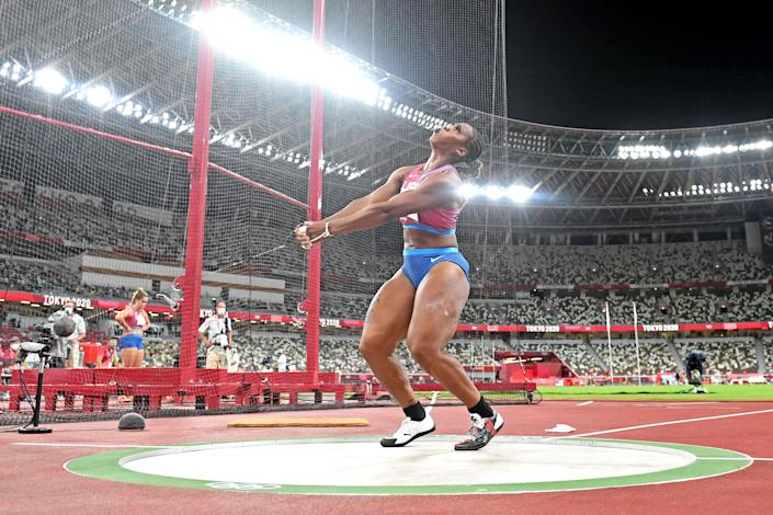 Gwen Berry (USA) competes in the women's hammer throw final during the Tokyo 2020 Olympics at Olympic Stadium.
