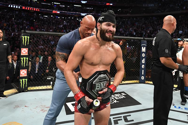 NEW YORK, NEW YORK - NOVEMBER 02: Jorge Masvidal celebrates his victory over Nate Diaz (doctor's stoppage) in their welterweight bout for the BMF title during the UFC 244 event at Madison Square Garden on November 02, 2019 in New York City. (Photo by Josh Hedges/Zuffa LLC via Getty Images)