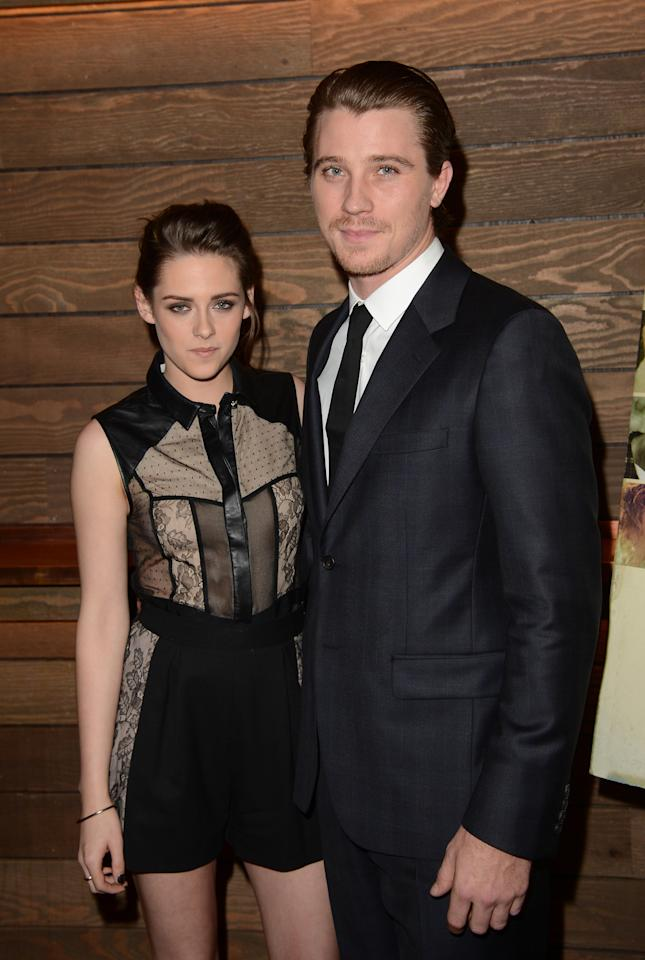 "LOS ANGELES, CA - DECEMBER 06:  Actors Kristen Stewart and her co-star Garrett Hedlund attend a special screening of ""On The Road"" at Sundance Cinema on December 6, 2012 in Los Angeles, California.  (Photo by Jason Merritt/Getty Images)"