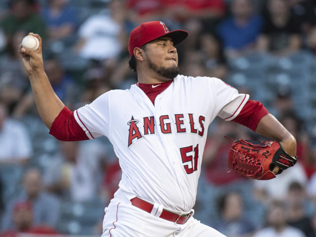Los Angeles Angels starting pitcher Jaime Barria delivers a pitch during the first inning of a baseball game against the Chicago White Sox in Anaheim, Calif., Monday, July 23, 2018. (AP Photo/Kyusung Gong)