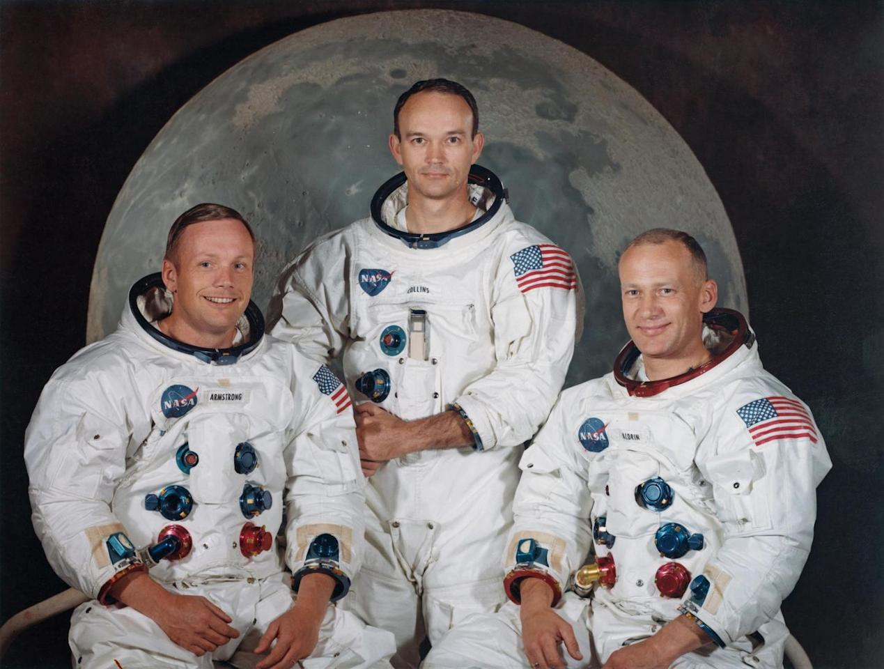 """<p>The three crew members of NASA's Apollo 11 lunar landing mission pose for a group portrait a few weeks before the launch in May 1969. From left to right, Commander Neil Armstrong, Command Module Pilot Michael Collins and Lunar Module Pilot Edwin """"Buzz"""" Aldrin Jr.</p>"""