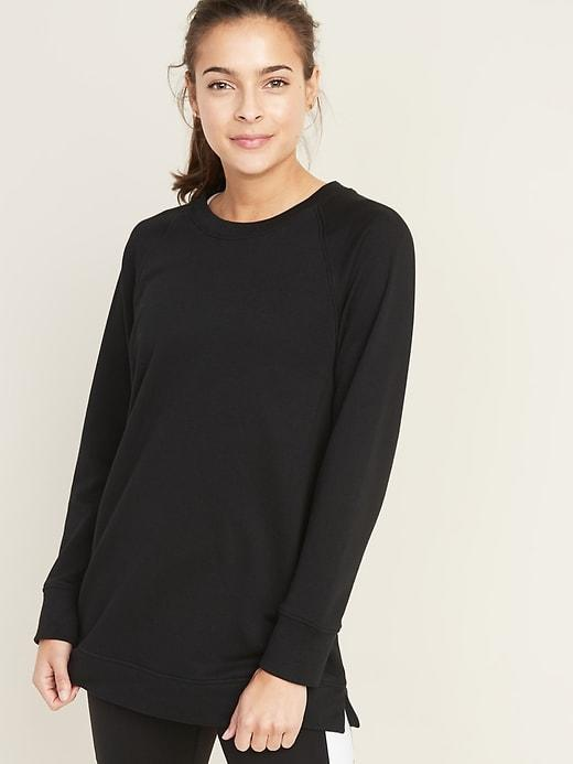 Loose-Fit French-Terry Crew-Neck Tunic