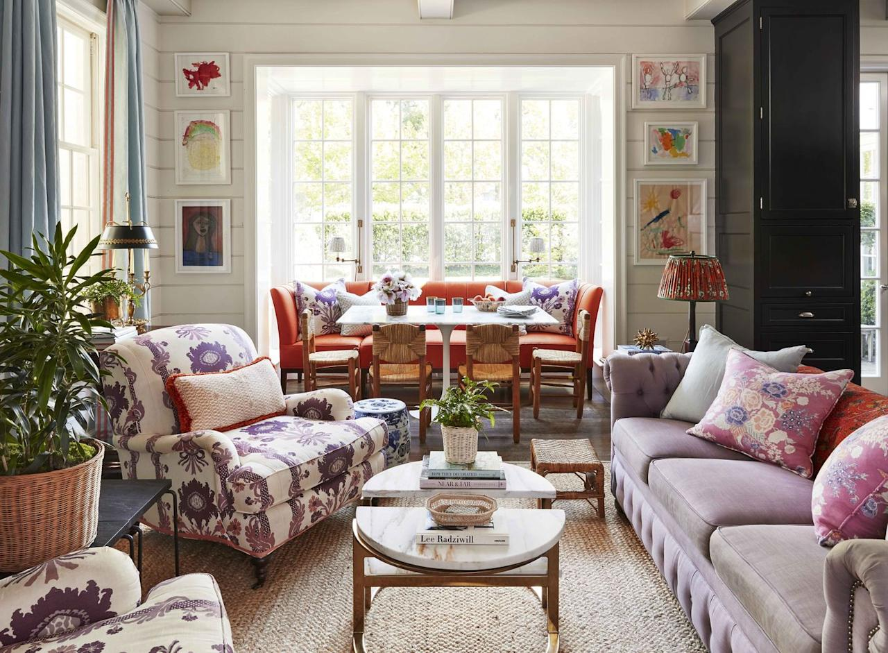 """<p>Nobody wants to stare at blank walls, especially when you may have to spend a lot of time at home. Gallery walls filled with colorful and eye-catching pieces instantly turn into the room's centerpiece while <a href=""""https://www.veranda.com/decorating-ideas/g30380924/wall-decor-ideas/"""" target=""""_blank"""">dressing up those blank canvases</a>. Add a personal touch to your own exhibit-worthy display by framing the masterpieces your kids create. Some local businesses and companies like <a href=""""https://www.framebridge.com/"""" target=""""_blank"""">Framebridge</a> allow you to send in your own photos or artwork, and they do all the framing for you. </p>"""