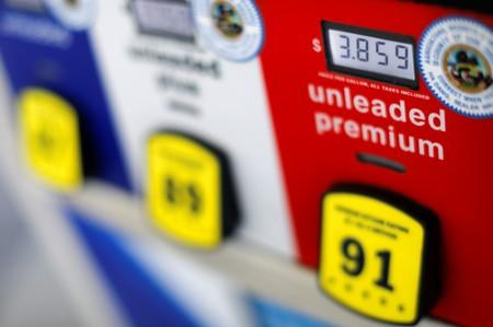 FILE PHOTO: The current price of gasoline is shown on a gas pump at an Arco gas station in San Diego