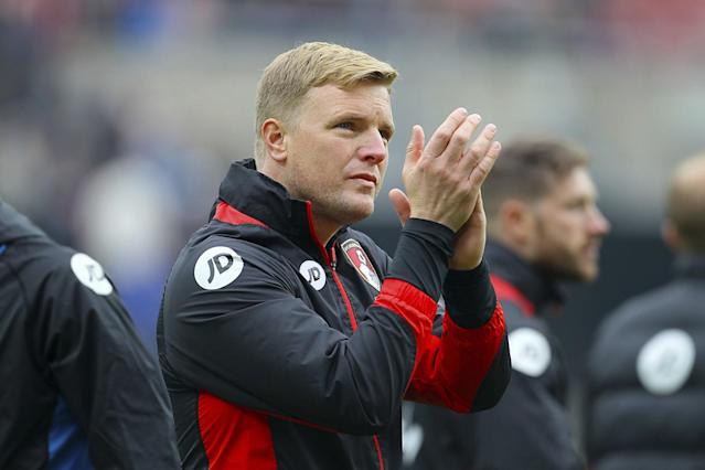 <p>AFC Bournemouth manager Eddie Howe applauds the fans </p>