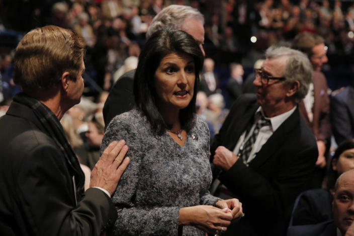 <p>South Carolina Gov. Nikki Haley talks to people in the audience during the Fox Business Network Republican presidential debate in North Charleston, S.C., on Jan. 14, 2016. <i>(Photo: Chris Keane/Reuters)</i></p>