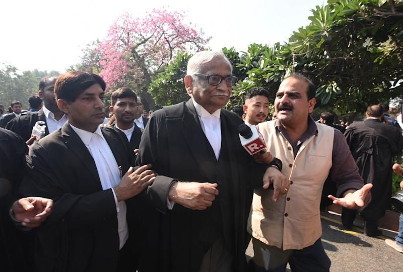 NEW DELHI, INDIA NOVEMBER 9: Rajeev Dhawan, Senior Advocate after the Supreme Court verdict in the Ram Janmabhoomi Babri Masjid case, on November 9, 2019 in New Delhi, India. The Supreme Court on Saturday cleared the way for a temple to be built at the disputed plot of land in Ayodhya where the Babri Masjid stood before its demolition, and which Hindus consider to be the birthplace of Lord Ram. Supreme Court orders that Central Govt within 3-4 months formulate scheme for setting up of trust and hand over the disputed site to it for construction of temple at the site and a suitable alternative plot of land measuring 5 acres at Ayodhya will be given to Sunni Wakf Board. (Photo by Sonu Mehta/Hindustan Times via Getty Images)