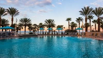 Starting November 24, 2020 through December 1, 2020, travelers can save 25 percent off the best available rate at thousands of participating hotels when they book through Wyndham's all-new mobile app. Above, Wyndham Grand Clearwater Beach.