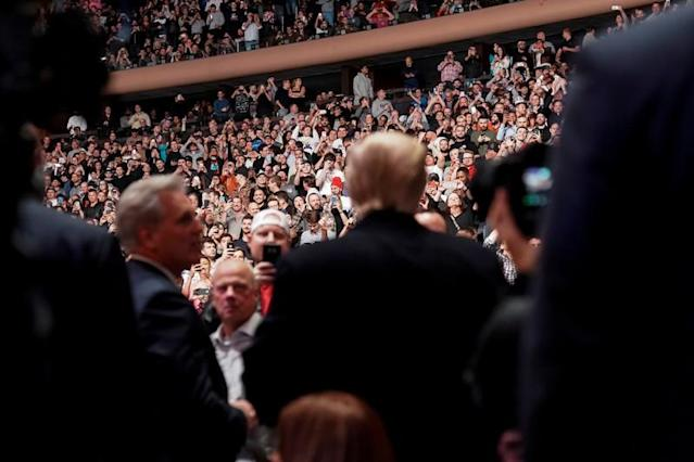 U.S. President Donald Trump arrives to watch a mixed martial arts fight in Madison Square Garden in New York, New York.