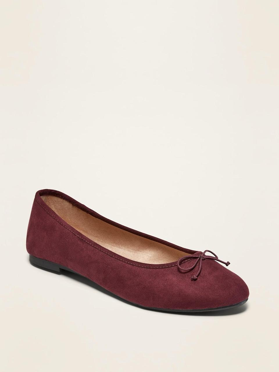 <p>These <span>Faux-Suede Almond-Toe Ballet Flats</span> ($18, originally $25) will go with any ensemble.</p>