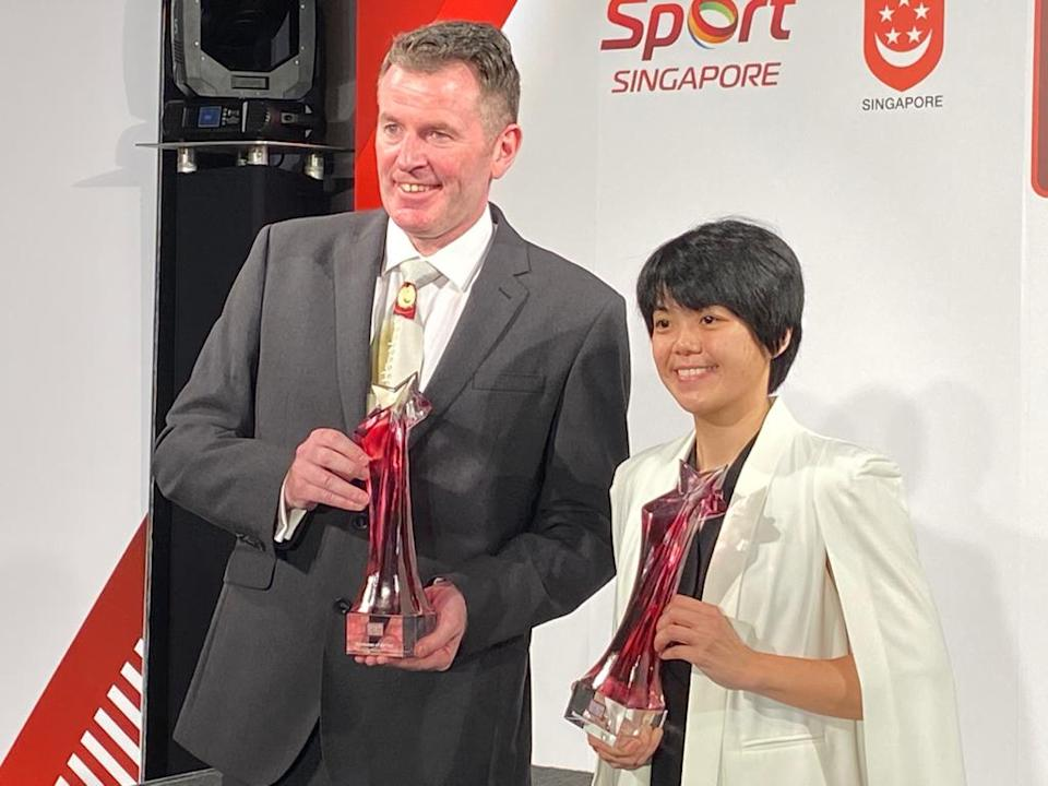 Peter Gilchrist (Sportsman of the Year) and Cherie Tan (Sportswoman of the Year) at Singapore Sports Awards 2020. (PHOTO: Chia Han Keong/Yahoo News Singapore)