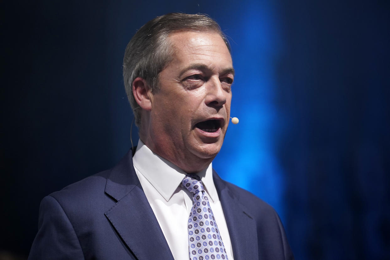 BIRMINGHAM, ENGLAND - JUNE 30: Brexit Party leader Nigel Farage addresses supporters from the stage at the party's Big Vision Rally at the National Exhibition Centre on June 30, 2019 in Birmingham, England. Organisers have said they are expecting 5000 attendees as the leadership unveiled the first 100 plus prospective parliamentary candidates who have been selected for any future Westminster elections. (Photo by Christopher Furlong/Getty Images)