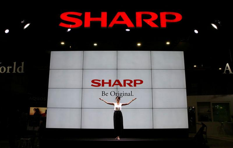 Logos of Sharp Corp are pictured at the CEATEC JAPAN 2017 in Chiba