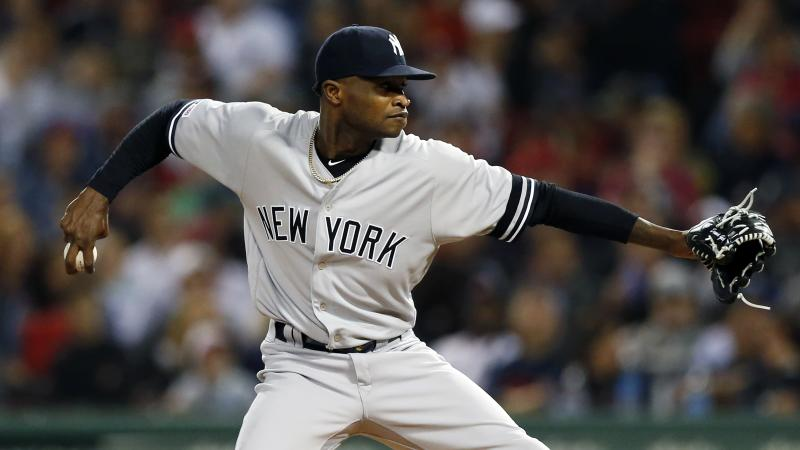 New York Yankees' Domingo German pitches during the first inning of a baseball game against the Boston Red Sox in Boston, Friday, Sept. 6, 2019. (AP Photo/Michael Dwyer)